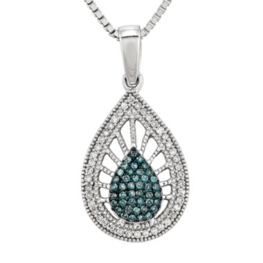 jcpenney.com | 1/4 CT. T.W. White and Color-Enhanced Blue Diamond Sterling Silver Teardrop Pendant Necklace