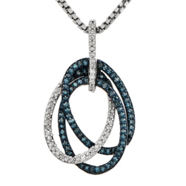 jcpenney.com | 1/4 CT. T.W. White and Color-Enhanced Blue Diamond Sterling Silver Oval Pendant Necklace