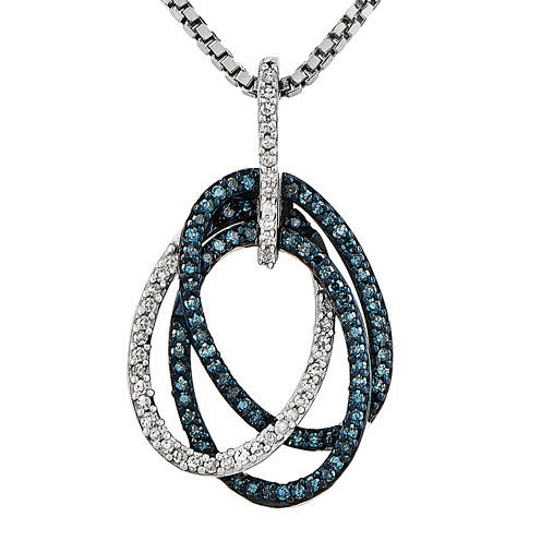 1/4 CT. T.W. White and Color-Enhanced Blue Diamond Sterling Silver Oval Pendant Necklace