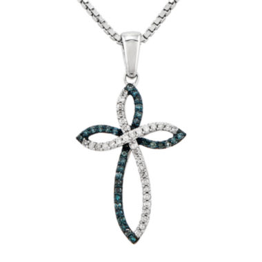 jcpenney.com | 1/5 CT. T.W. White and Color-Enhanced Blue Diamond Sterling Silver Cross Pendant Necklace