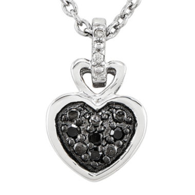 jcpenney.com | White and Color-Enhanced Black Diamond-Accent Sterling Silver Heart Pendant Necklace