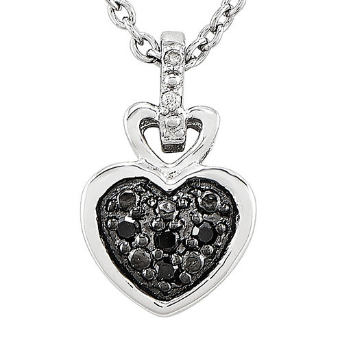 White and Color-Enhanced Black Diamond-Accent Sterling Silver Heart Pendant Necklace