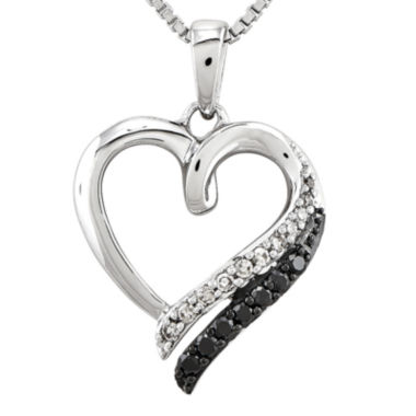 jcpenney.com | 1/5 CT. T.W. White and Color-Enhanced Black Diamond Sterling Silver Heart Pendant Necklace