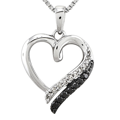 1/5 CT. T.W. White and Color-Enhanced Black Diamond Sterling Silver Heart Pendant Necklace