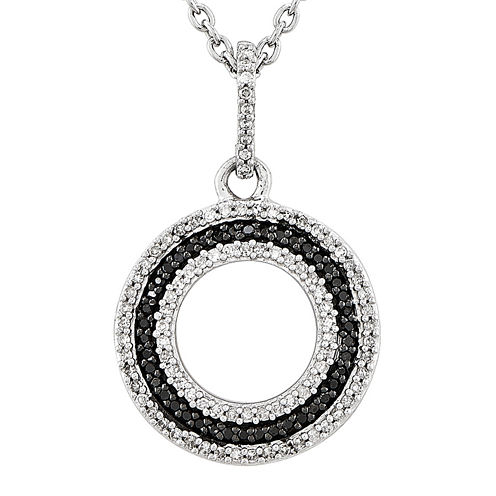 1/5 CT. T.W. White and Color-Enhanced Black Diamond Sterling Silver Circle Pendant Necklace