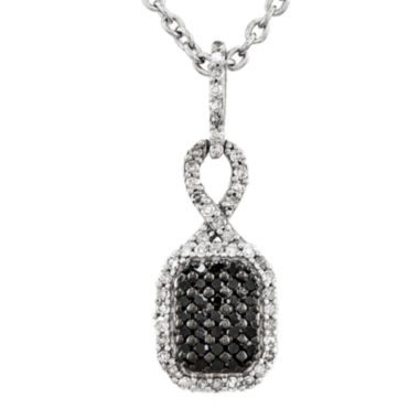jcpenney.com | 1/4 CT. T.W. White and Color-Enhanced Black Diamond Sterling Silver Fashion Pendant Necklace