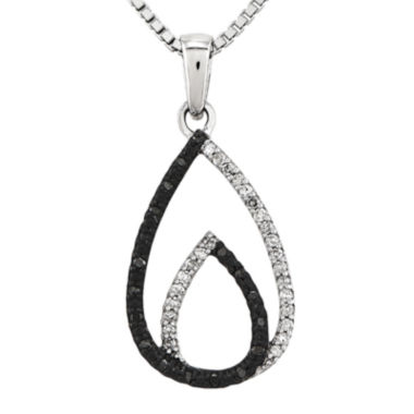 jcpenney.com | 1/7 CT. T.W. White and Color-Enhanced Black Diamond Sterling Silver Teardrop Pendant Necklace