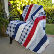 Nautical Stripe Quilted Cotton Throw