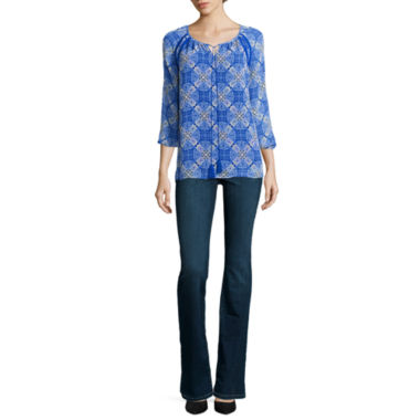 jcpenney.com | St. John's Bay® Tie-Front Blouse or Secretly Slender Cropped Pants