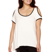 Bisou Bisou® Cold-Shoulder Sharkbite Top - Plus
