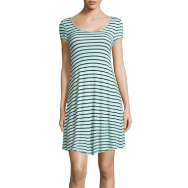 jcpenney.com | Pink Rose Striped Short-Sleeve Dress