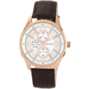 Armitron® Mens Silver-Tone Dial Brown Leather Strap Watch