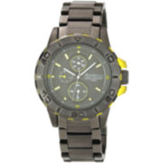 Armitron® Mens Gunmetal & Yellow Multifunction Watch