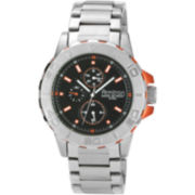 Armitron® Mens Silver-Tone & Orange Multifunction Watch