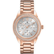 Bulova Womens Crystal-Accent Rose-Tone Multifunction Watch