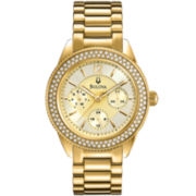 Bulova Womens Crystal-Accent Gold-Tone Multifunction Watch