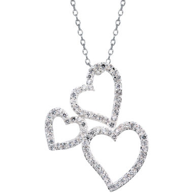 jcpenney.com | Sparkle Allure™ Cubic Zirconia Triple Heart Pendant Necklace