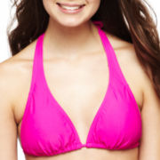 Arizona Solid Slider Halter Swim Top - Juniors