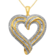 1 CT. T.W. Diamond 14K Gold-Plated Heart Pendant Necklace