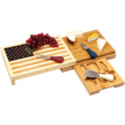 Picnic Time Old Glory USA Flag Cheeseboard with Tools Set