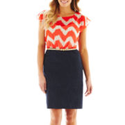 Alyx® Chevron Print Two-Tone Dress