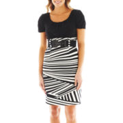 Alyx® Spliced Striped Belted Two-Tone Dress