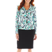 Le Suit® Floral Jacket Skirt Suit
