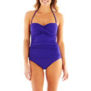Liz Claiborne Shirred Twist Bandeau 1-Piece Swimsuit