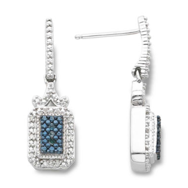 jcpenney.com | Sterling Silver 1/10 CT. T.W. White & Color-Enhanced Blue Diamond Earrings