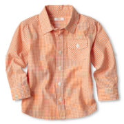 Joe Fresh™ Orange Checked Shirt - Boys 1t-5t