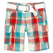 Joe Fresh™ Aqua Plaid Cargo Shorts - Boys 1t-5t