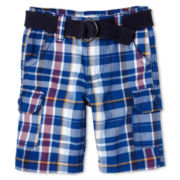 Joe Fresh™ Blue Plaid Cargo Shorts - Boys 1t-5t