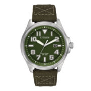 Citizen® Eco-Drive® Military Mens Green Canvas Strap Sport Watch AW1410-16X