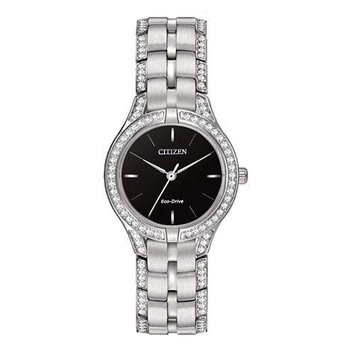 Citizen® Eco-Drive® Silhouette Womens Crystal-Accent Bracelet Watch FE2060-53E