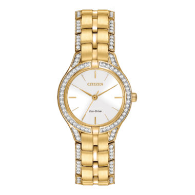 jcpenney.com | Citizen® Eco-Drive® Silhouette Womens Crystal-Accent Bracelet Watch FE2062-58A