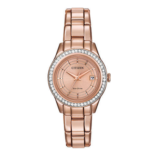 Citizen® Eco-Drive® Silhouette Womens Crystal-Accent Bracelet Watch FE1123-51Q