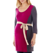 Maternity 3/4-Sleeve Scoopneck Tie-Waist Top - Plus