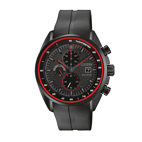Drive from Citizen® Eco-Drive HTM Mens Black Silicone Strap Chronograph Watch CA0595-11F