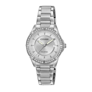 jcpenney.com | Drive from Citizen® Eco-Drive Womens Crystal-Accent Stainless Steel Bracelet Watch FE6060-51A
