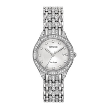 jcpenney.com | Citizen® Eco-Drive Silhouette Womens Crystal-Accent Stainless Steel Bracelet Watch EW2320-55A