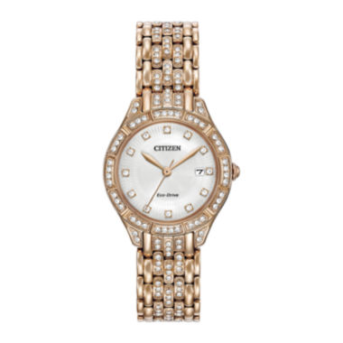 jcpenney.com | Citizen® Eco-Drive Silhouette Womens Crystal-Accent Rose-Tone Stainless Steel Bracelet Watch EW2323-57A