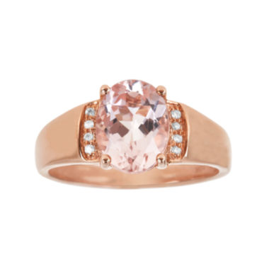 jcpenney.com | LIMITED QUANTITIES  Genuine Morganite and Diamond-Accent 10K Rose Gold Ring