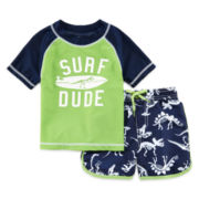 Carter's® 2-pc. Dino Rashguard Swim Set - Baby Boys 3m-24m