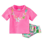 Carter's® 2-pc. Flower Rashguard Set - Baby Girls 3m-24m