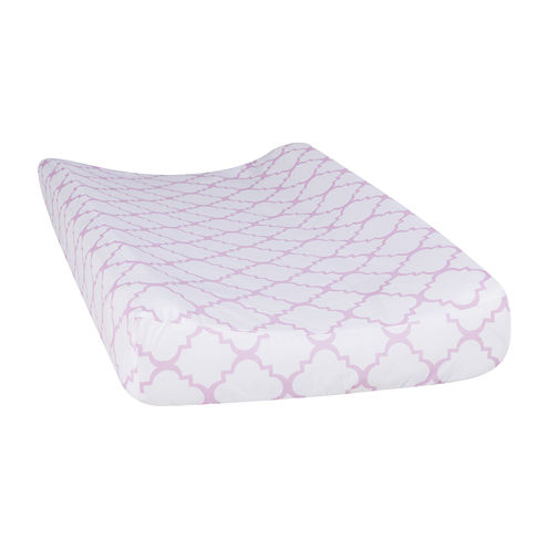 Trend Lab® Orchid Bloom Quatrefoil Changing Pad Cover