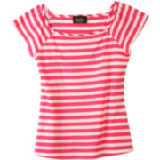 by&by Girl Striped Squareneck Tee - Girls 7-16