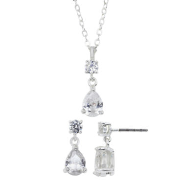 jcpenney.com | Sparkle Allure™ Pure Silver-Plated Cubic Zirconia Pendant Necklace & Earring Set
