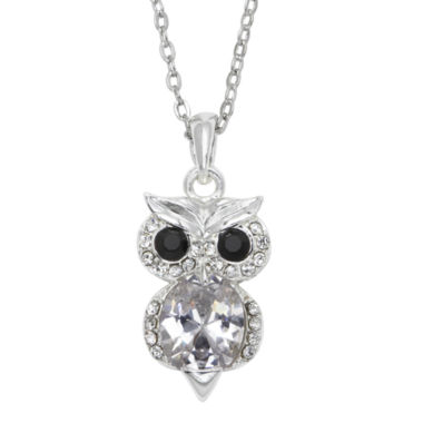jcpenney.com | Sparkle Allure™ Pure Silver-Plated Cubic Zirconia Owl Pendant Necklace