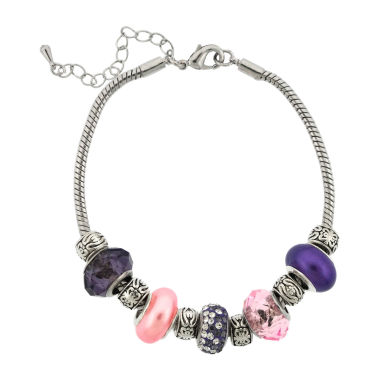 jcpenney.com | Dazzling Designs™ Silver-Plated Purple & Pink Glass Bead Bracelet