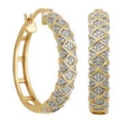 Classic Treasures™ Diamond-Accent 18K Gold Over Brass Hoop Earrings